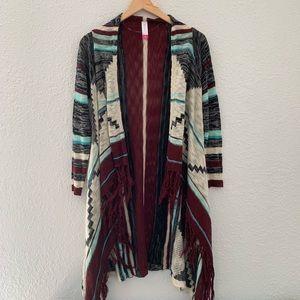 🌸Xhilaration Aztec cardigan with fringe